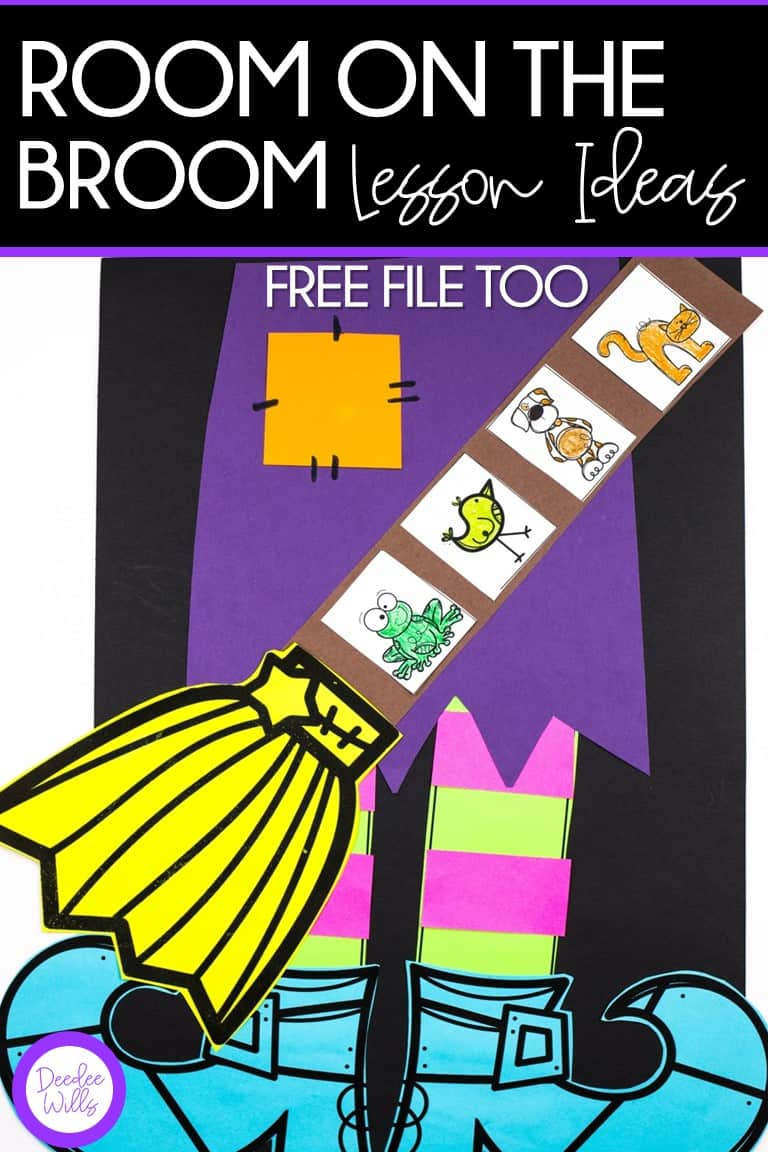 Room on the Broom Lesson Ideas with a free Room on the Broom set of printables too! In this blog post you will read about the reading comprehension lesson plans that go with Room on the Broom. I also made a set of free math and literacy printables that are perfect for kindergarten and first grade students.